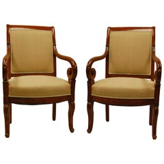 Pair of Carved Mahogany Restauration Period Armchairs, Early 19th Century
