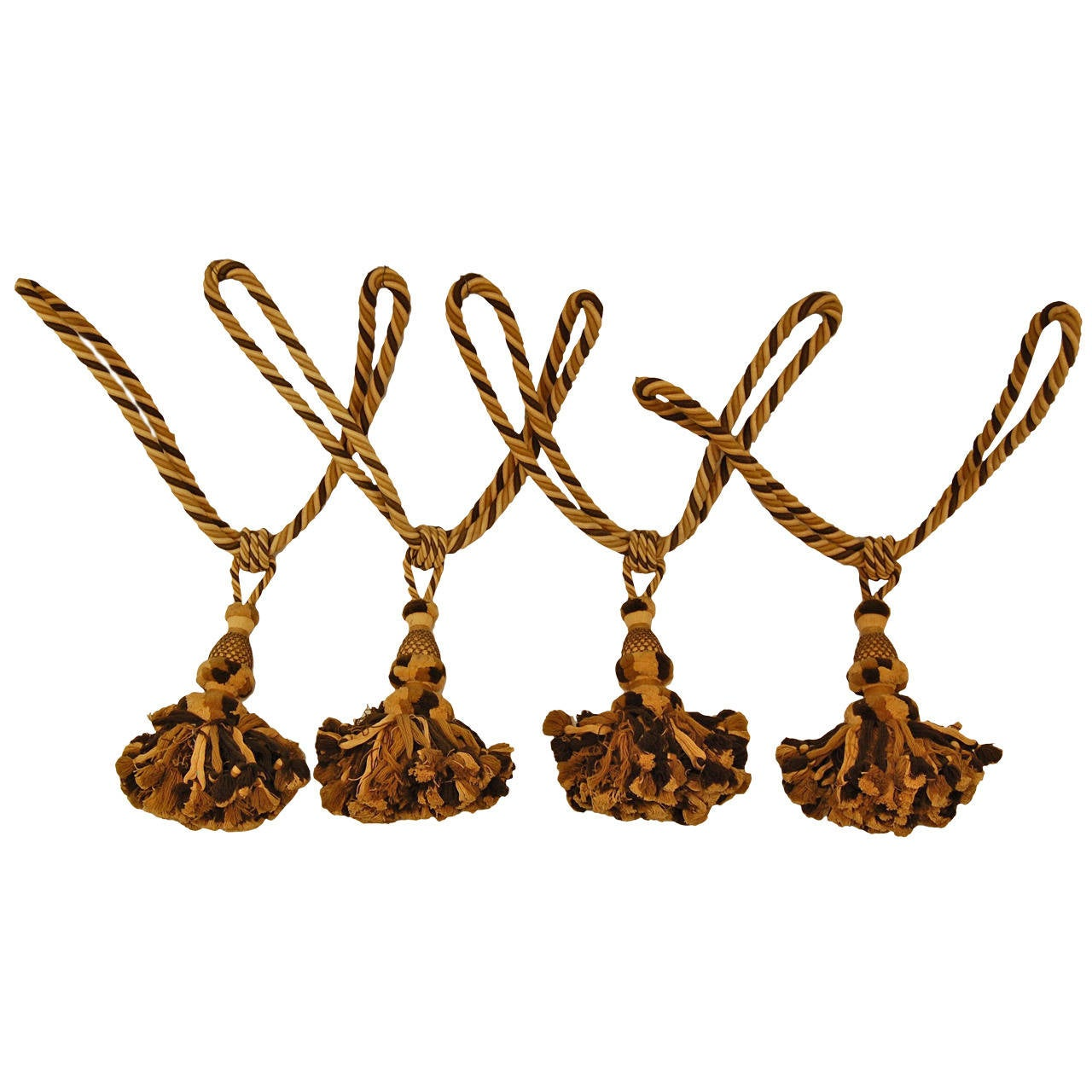 Set of Four Large Matching Wool Drapery Tiebacks with Tassels