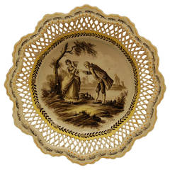 19th Century French Plate, Sceaux with Reticulated Gallery