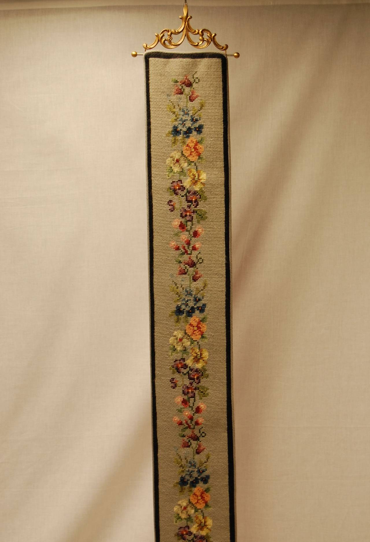 Art Deco Period Needlepoint Bell Pull With Pansy Floral