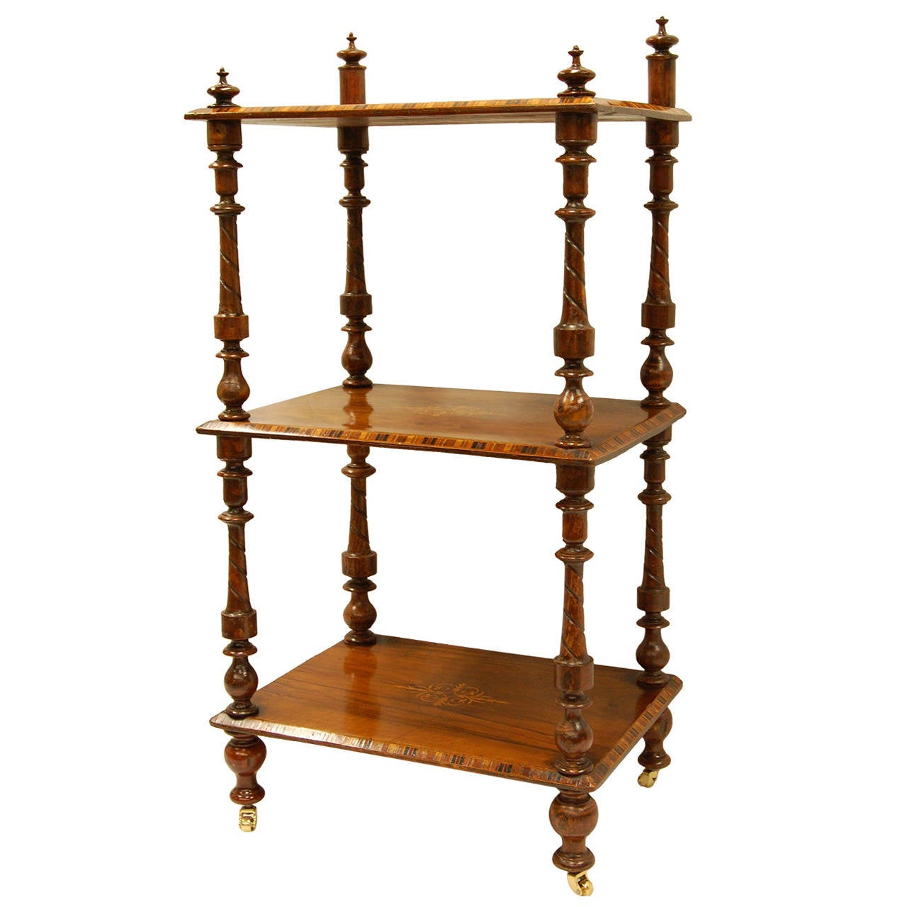 Early Victorian Era Rosewood Book Stand with Satinwood Banding For Sale