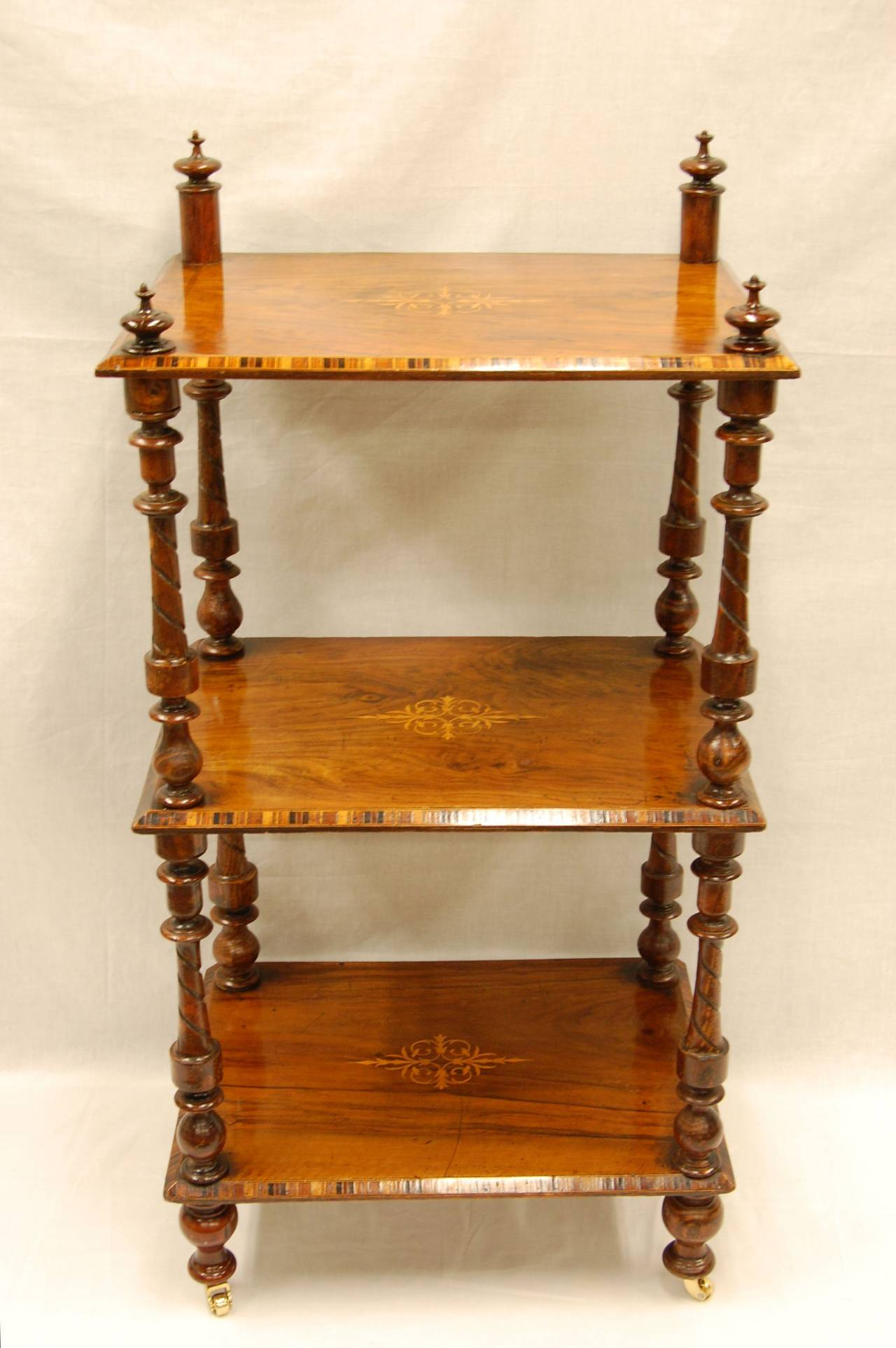 Hand-Carved Early Victorian Era Rosewood Book Stand with Satinwood Banding For Sale