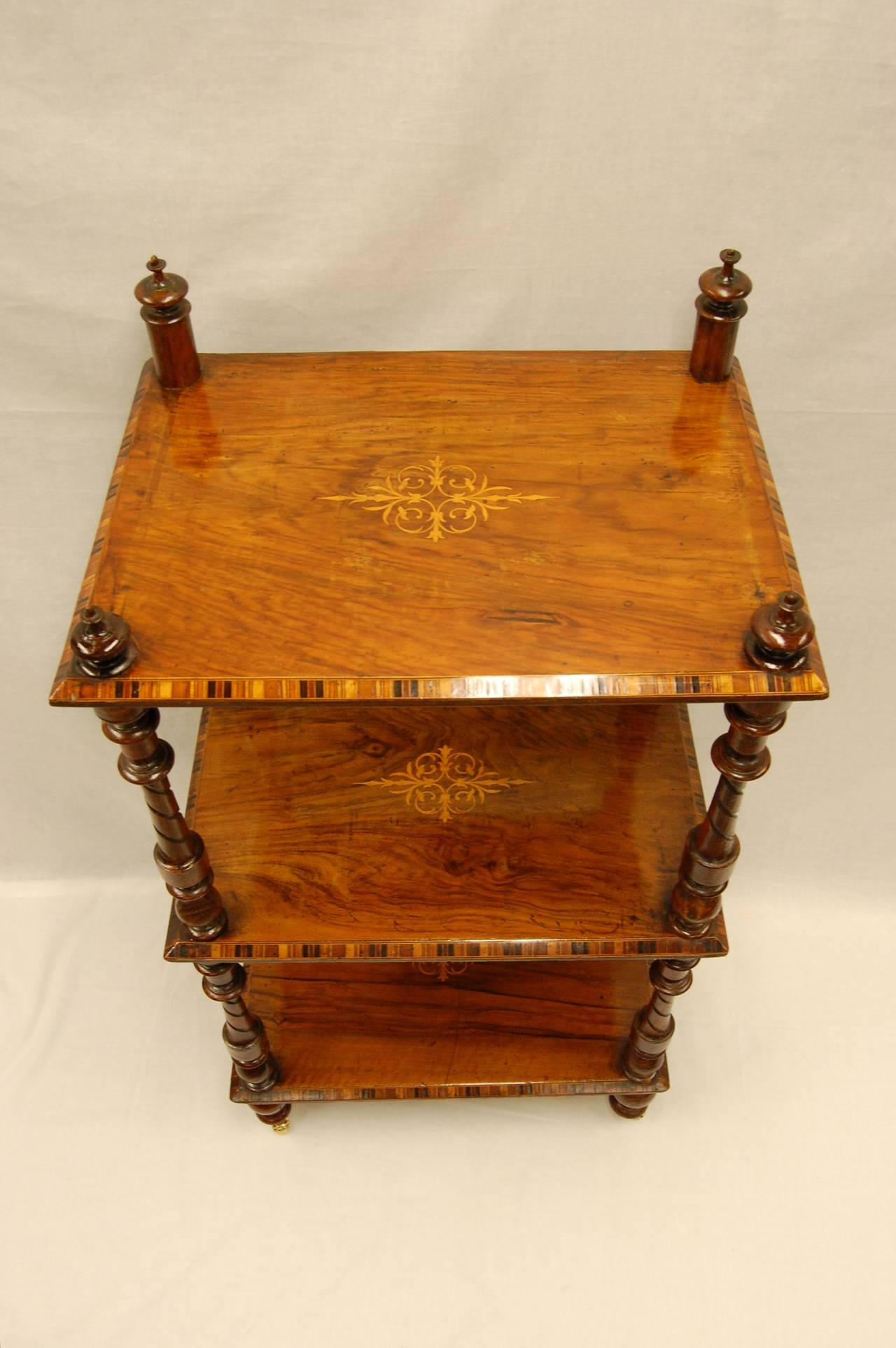 Italian Early Victorian Era Rosewood Book Stand with Satinwood Banding For Sale