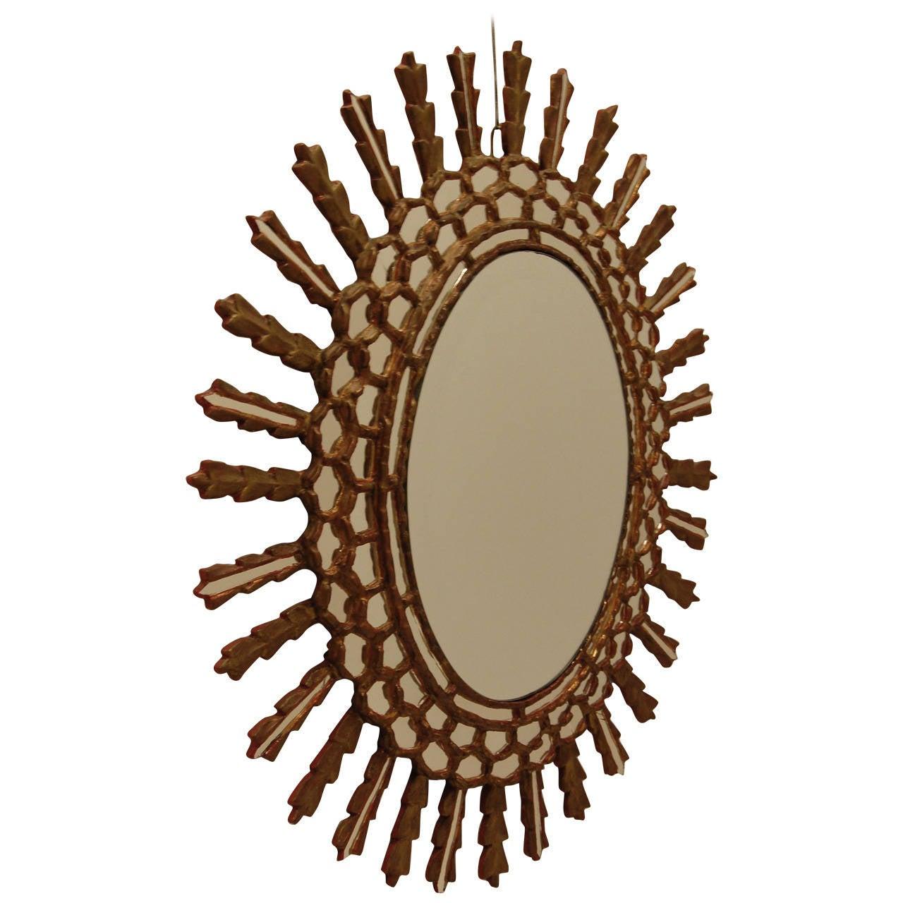 Oval italian sunburst style wall mirror mid 20th century for Sunburst mirror