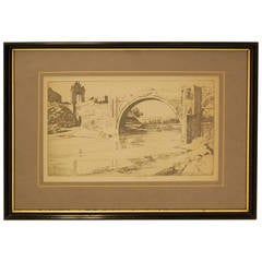 """The Alcántara Bridge"" Print by Ernest Lumsden, circa 1913"