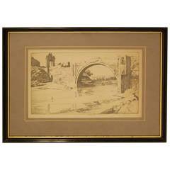 """The Alcántara Bridge"" Print by Ernest Lumsden, circa 1913"