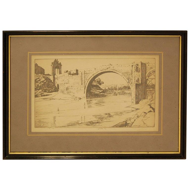 """The Alcántara Bridge"" Print by Ernest Lumsden, circa 1913 For Sale"