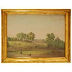 Framed 19th Century Watercolor of American Farm Scene