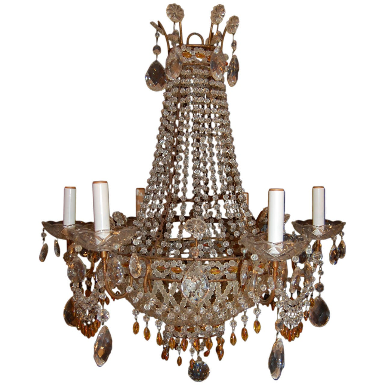 Italian Chandelier with Clear and Amber Crystal Drops and Beads For Sale