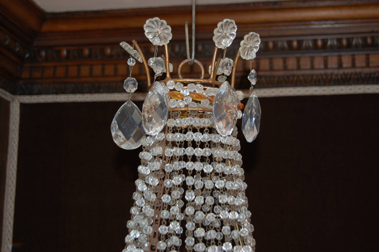 Italian Chandelier with Clear and Amber Crystal Drops and Beads For Sale 2