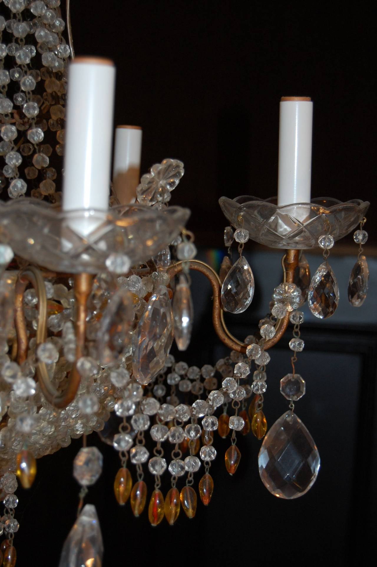 Other Italian Chandelier with Clear and Amber Crystal Drops and Beads For Sale