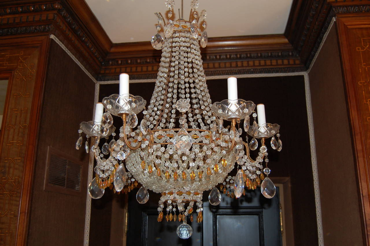 Italian Chandelier with Clear and Amber Crystal Drops and Beads For Sale 4