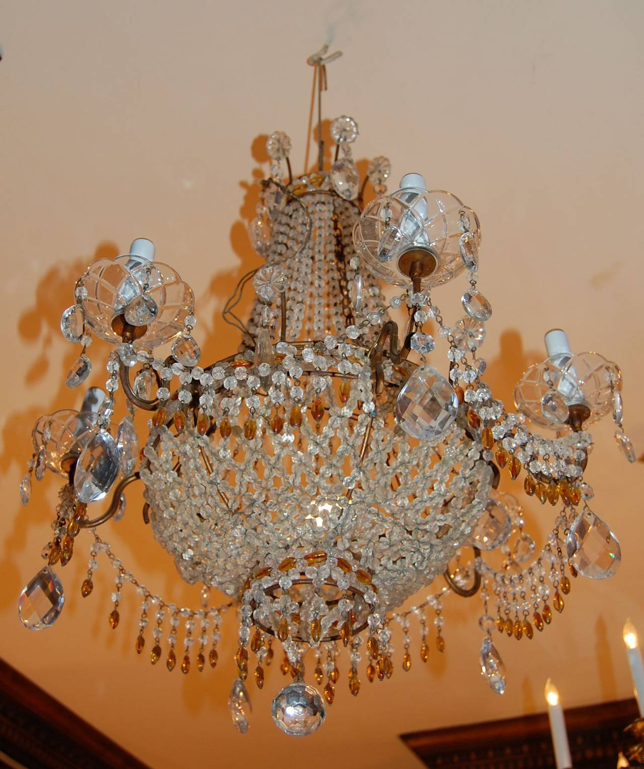 Italian Chandelier with Clear and Amber Crystal Drops and Beads In Excellent Condition For Sale In Pittsburgh, PA