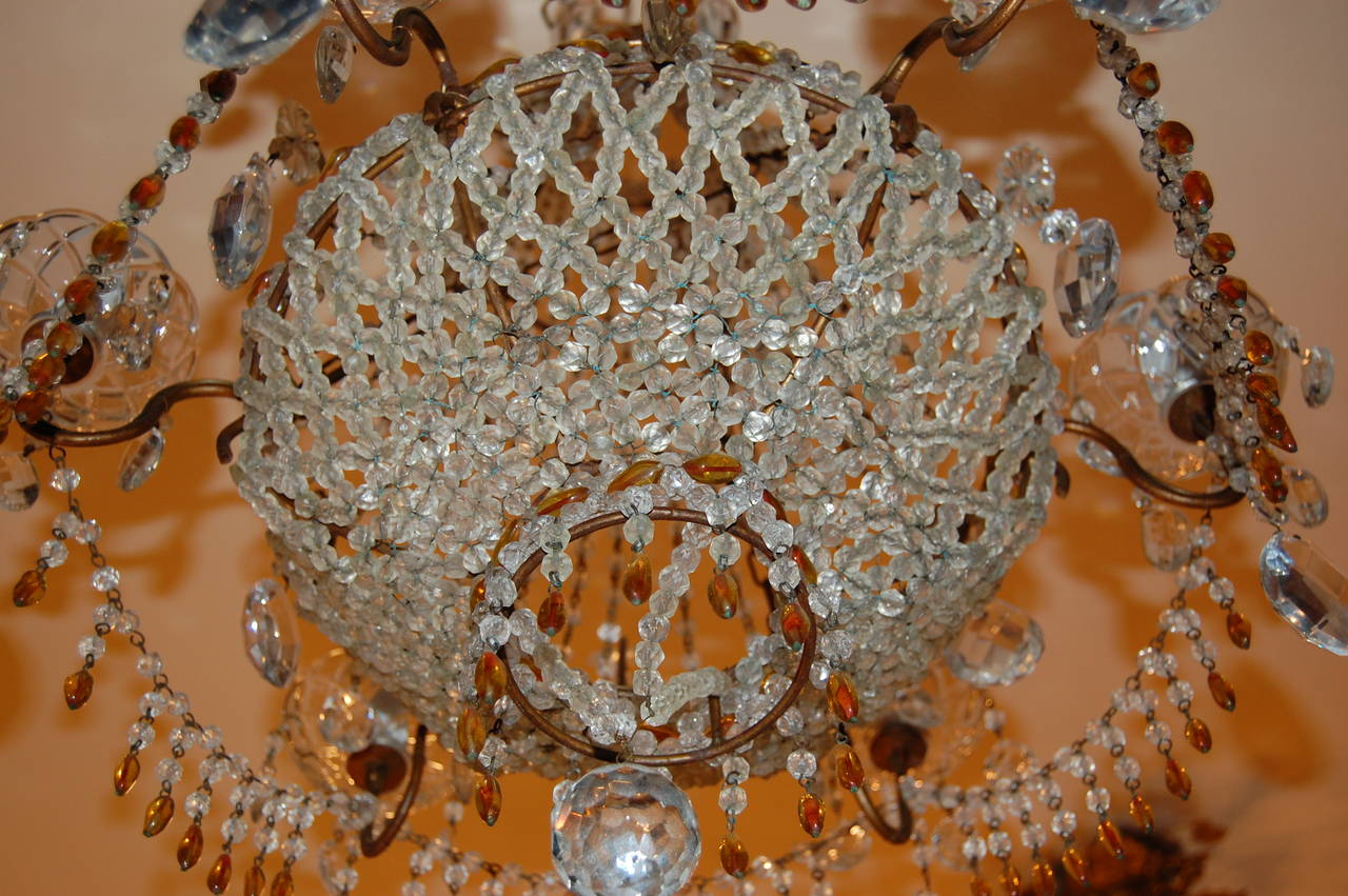 Italian Chandelier with Clear and Amber Crystal Drops and Beads For Sale 5