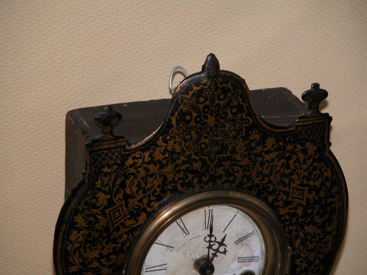 Victorian Clock With Cast Iron Face Mother Of Pearl Inlay