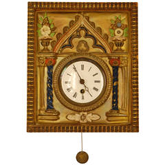Brass Repousse and Enamel Wag-on-Wall Clock with Enameled Dial