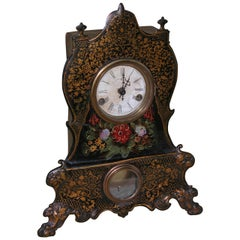 Victorian Clock with Cast Iron Face, Mother-of-Pearl Inlay and Floral Decoration