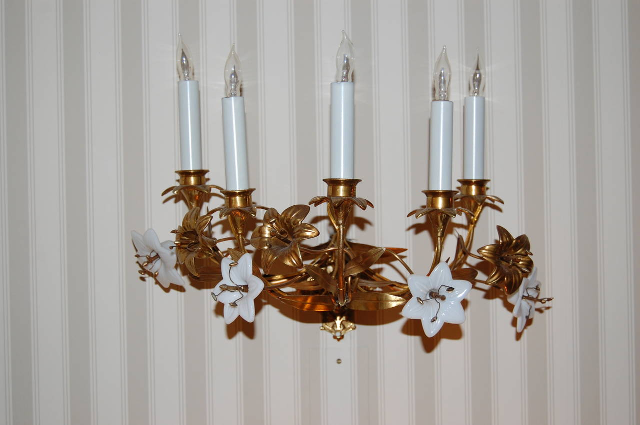 Pair of Early 19th Century French Brass Lily Sconces with Milk Glass Flowers For Sale at 1stdibs
