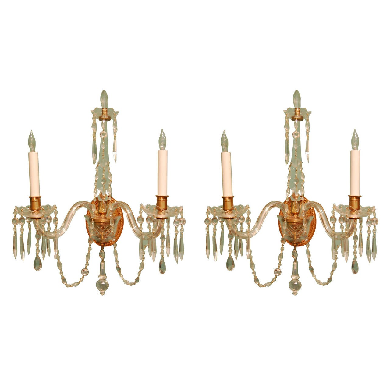 Pair of Crystal Two-Light Wall Sconces with Crystal Drops, Waterford Type, 1920s For Sale at 1stdibs
