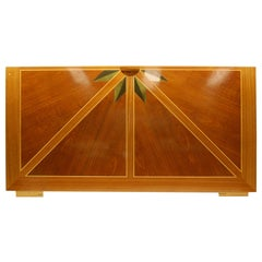 Wooden Architectural Inlaid Panel of Walnut, Maple and Brass