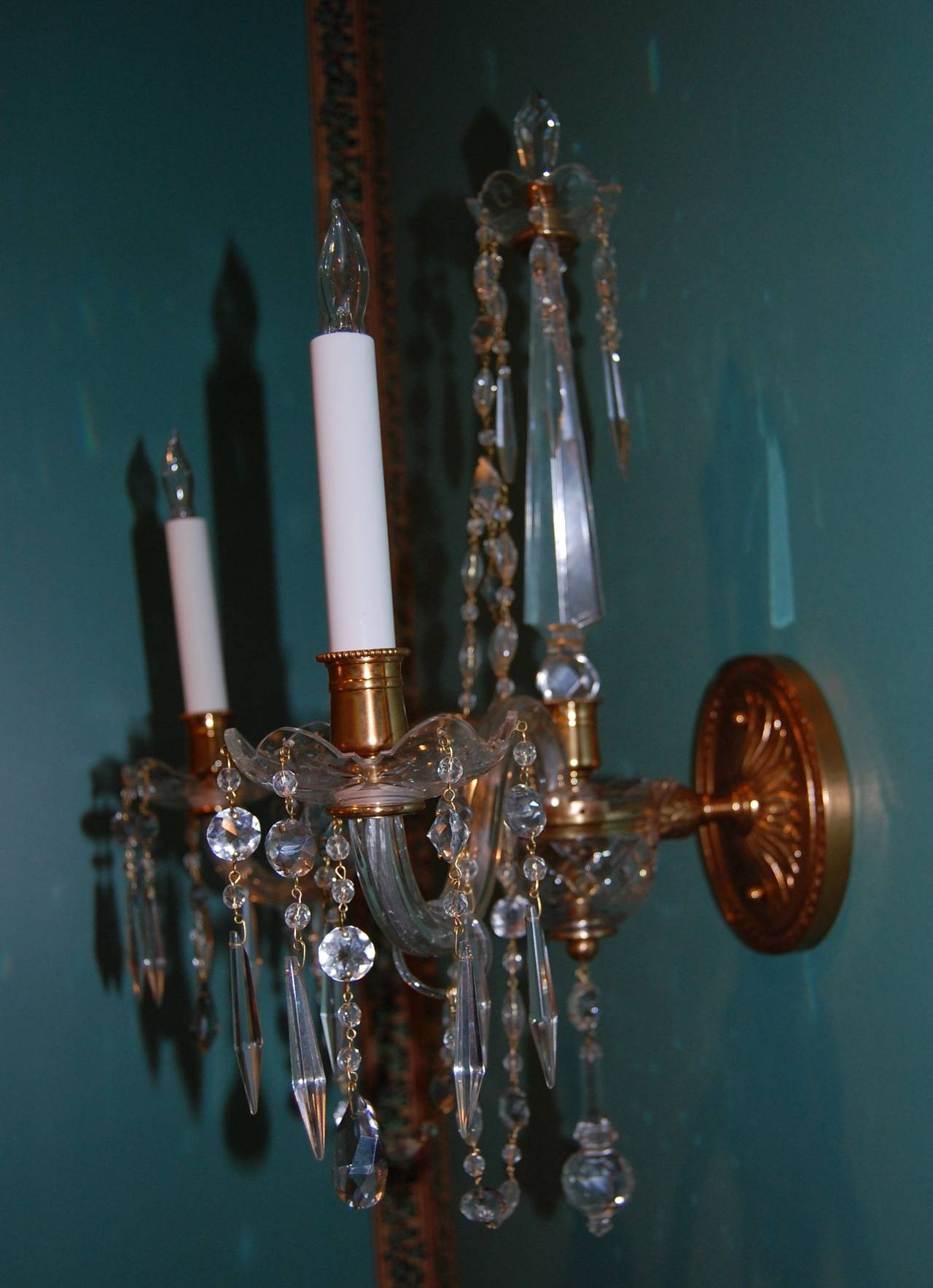 Pair of Crystal Two-Light Wall Sconces with Crystal Drops, Waterford Type, 1920s at 1stdibs