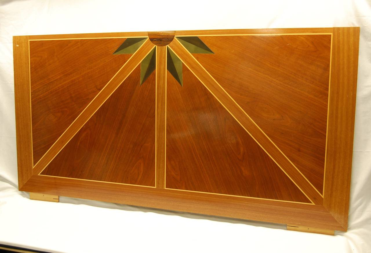 Wooden inlaid panel made by Guild Furniture Crafters in Pittsburgh in the Mid-1980s, designed by Louis Talotta, ASID for a show house fundraiser. Original cost of $4000.00 to make.