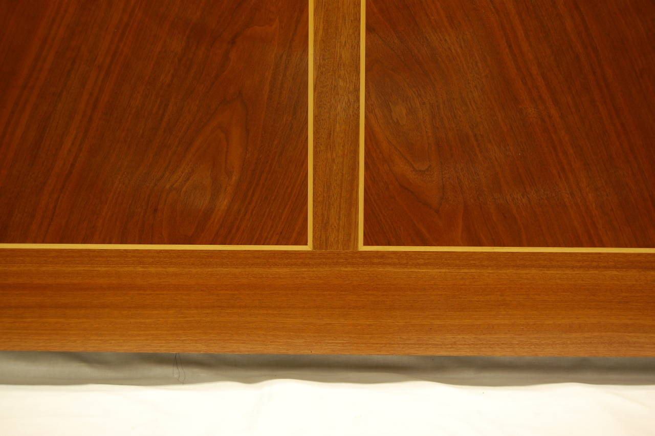 American Wooden Architectural Inlaid Panel of Walnut, Maple and Brass For Sale