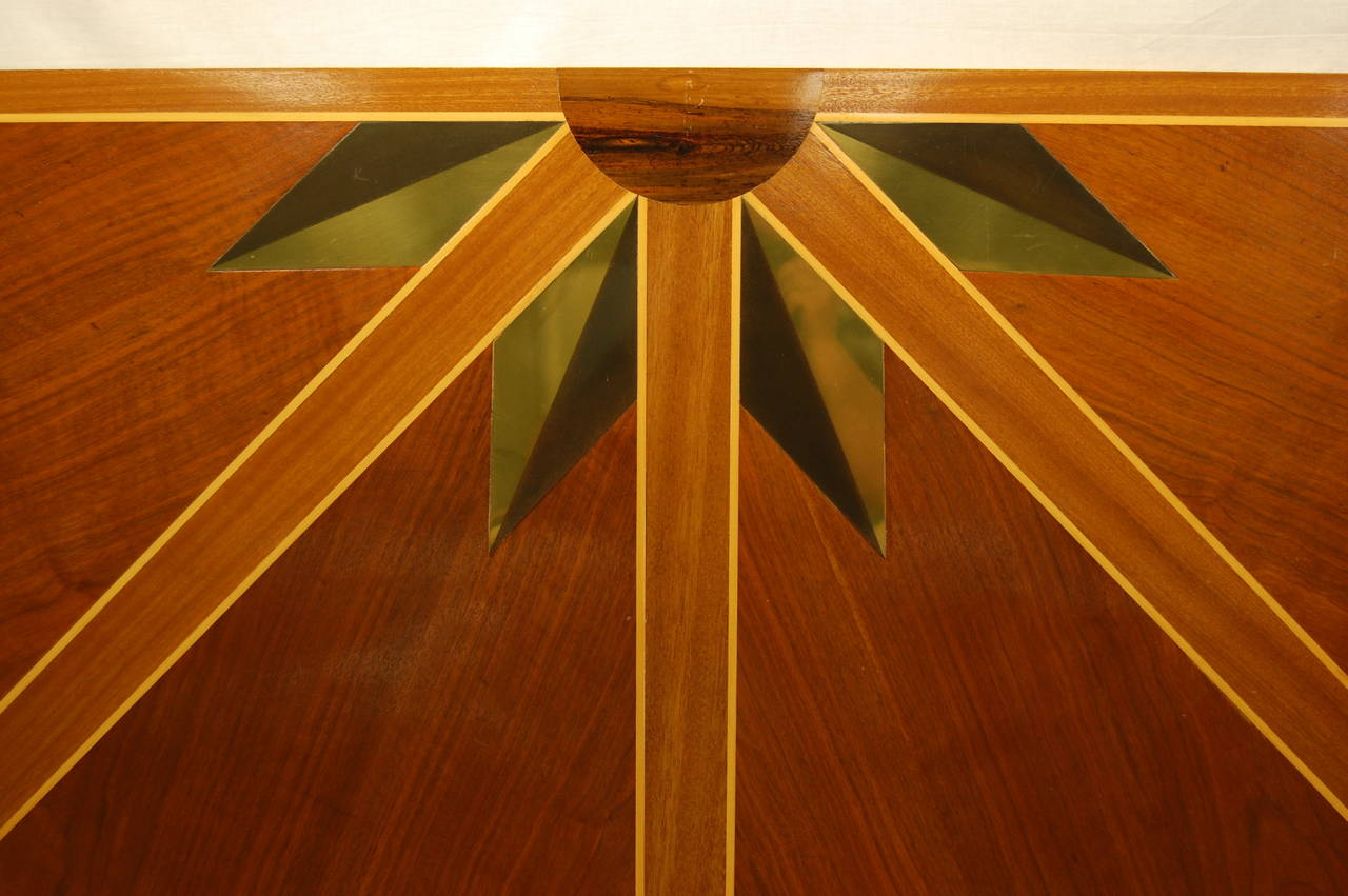 Louis XV Wooden Architectural Inlaid Panel of Walnut, Maple and Brass For Sale