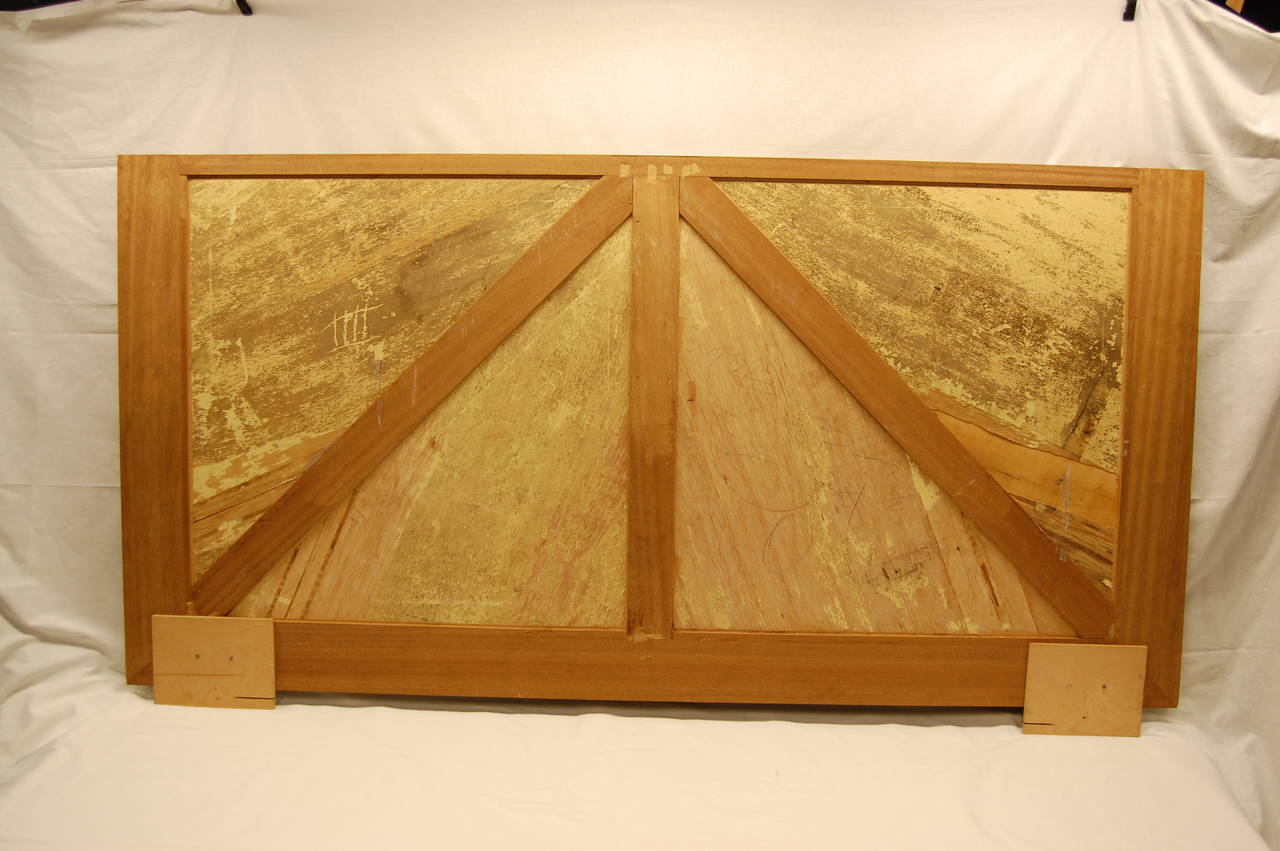 Wooden Architectural Inlaid Panel of Walnut, Maple and Brass In Good Condition For Sale In Pittsburgh, PA