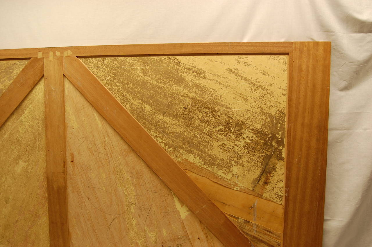 Wooden Architectural Inlaid Panel of Walnut, Maple and Brass For Sale 2