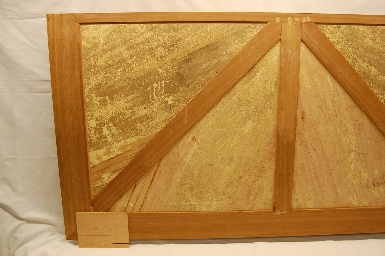 Late 20th Century Wooden Architectural Inlaid Panel of Walnut, Maple and Brass For Sale