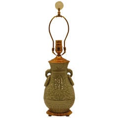 Early 20th Century Chinese Celadon Urn Lamp with Original Brass Cap and Base