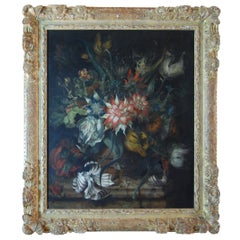 Late 19th Century Oil Painting in Carved Gilt Frame, Dutch or German