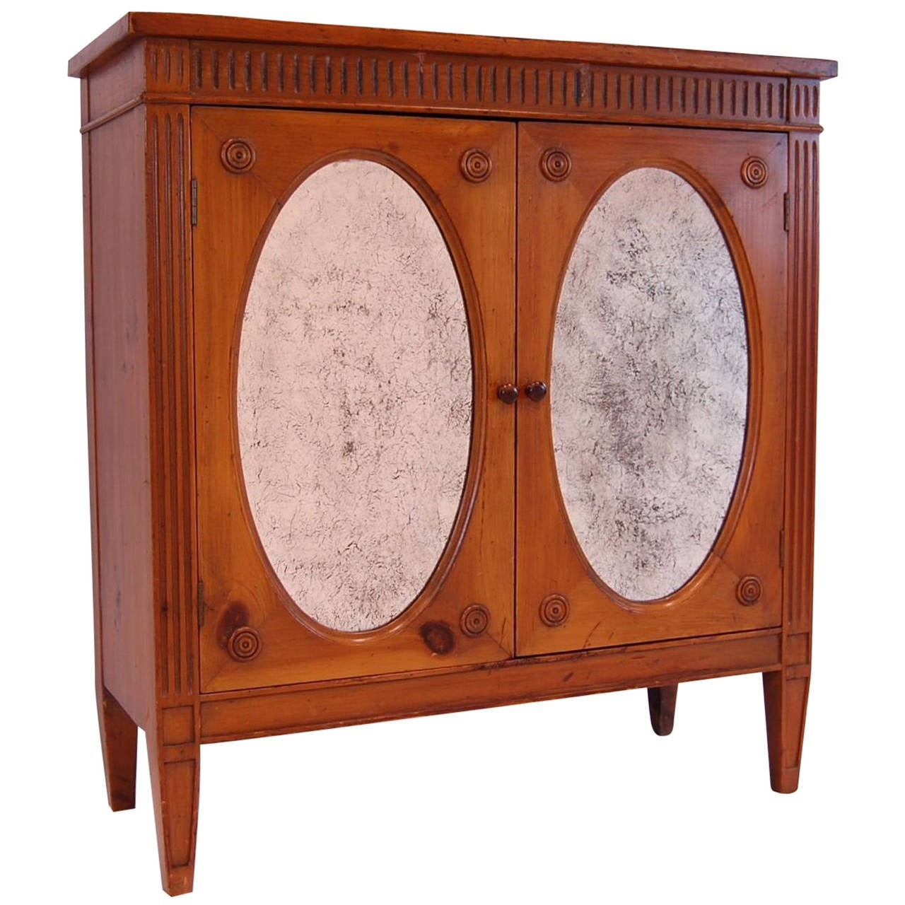 Painting Knotty Pine Cabinets: Knotty Pine Neoclassical Style Two-Door Cabinet, Circa
