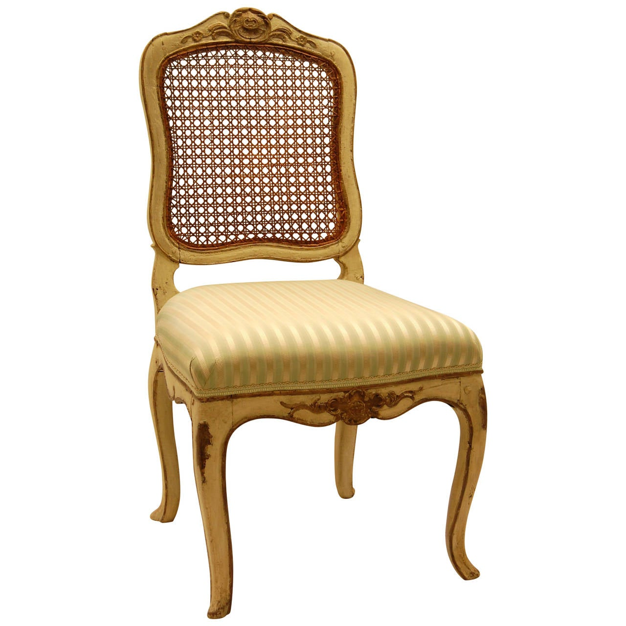louis xv style chair with hand caned back in original off white painted finish for sale at 1stdibs. Black Bedroom Furniture Sets. Home Design Ideas