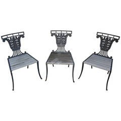 Set of Three Cast Iron Side Chairs with Teak Slat Seats by Emil Hauser, New York
