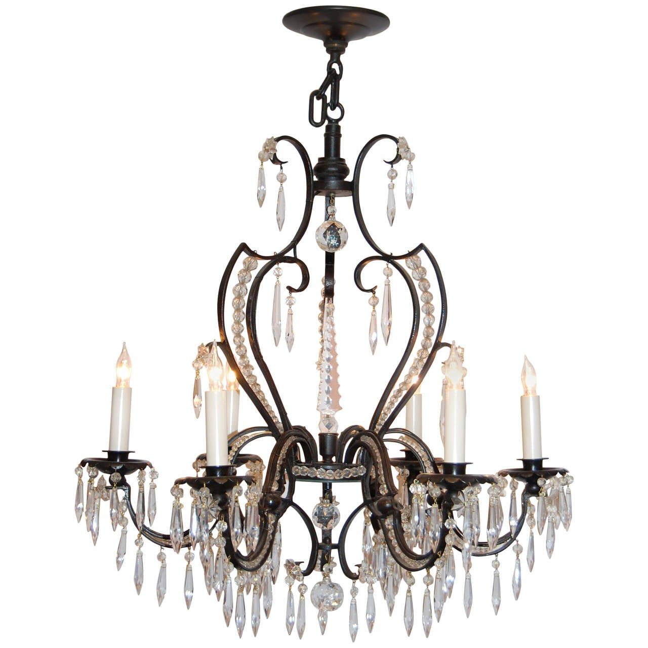 Iron and crystal six light chandelier circa 1920s 1930s for sale at 1stdibs - Circa lighting chandeliers ...