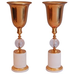 Pair of Art Deco Mantle Up-Lights in White Paint and Gold Finish
