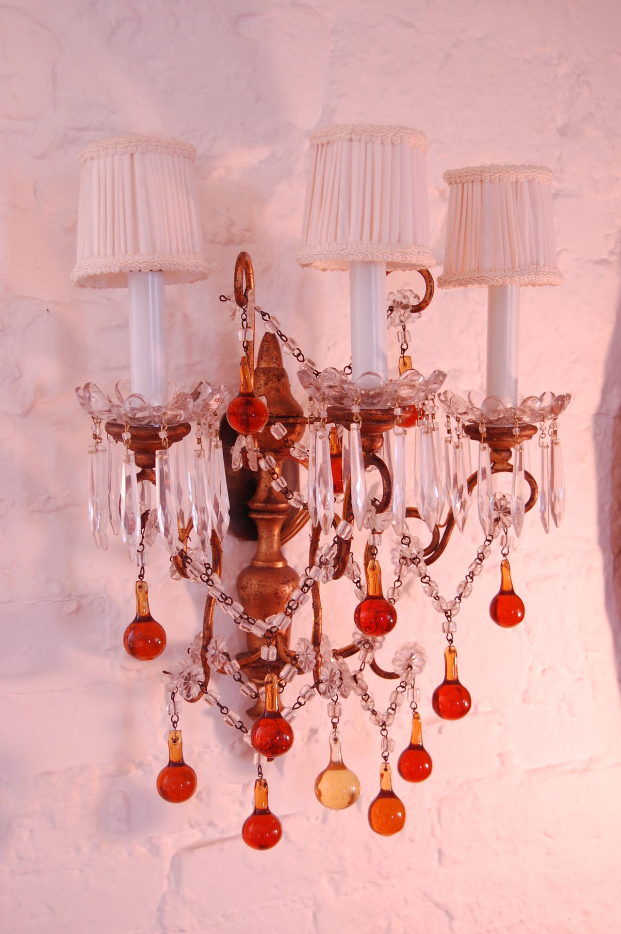 Pair of Italian Sconces with Amber and Clear Glass Beads circa 1920 For Sale at 1stdibs