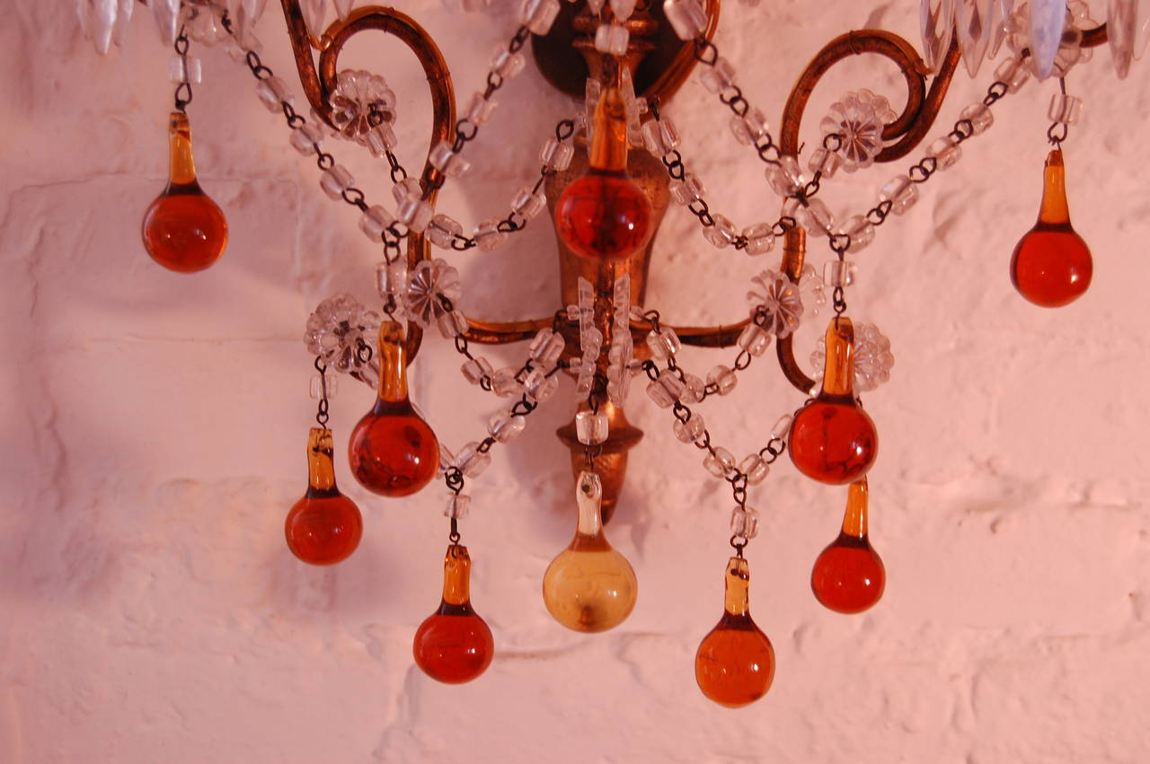 Amber Wall Sconces Glass : Pair of Italian Sconces with Amber and Clear Glass Beads circa 1920 For Sale at 1stdibs