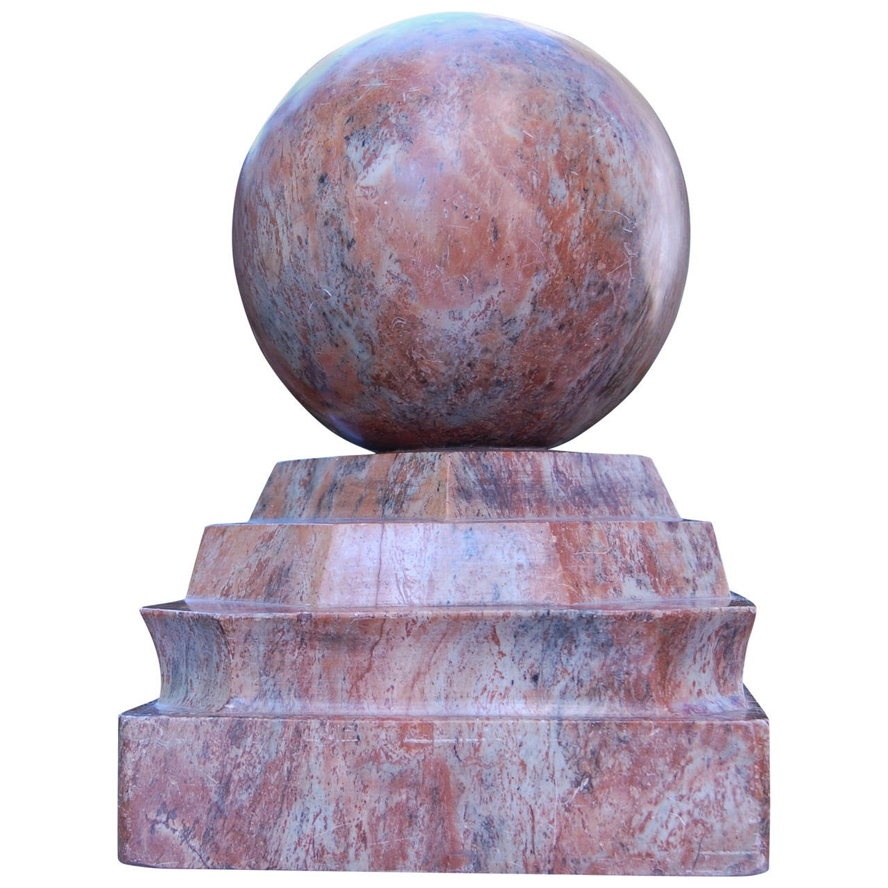 """Large Carved Marble Finial """"French Rouge Antique"""" For Sale"""