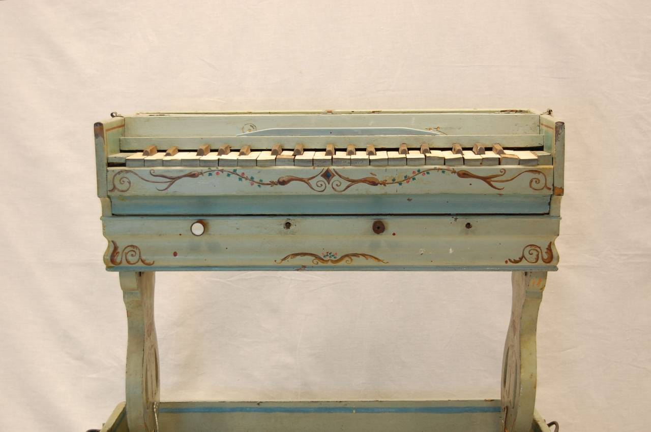 High Victorian 19th Century European Childs Pump Organ in Decoratively Painted Wood Case For Sale