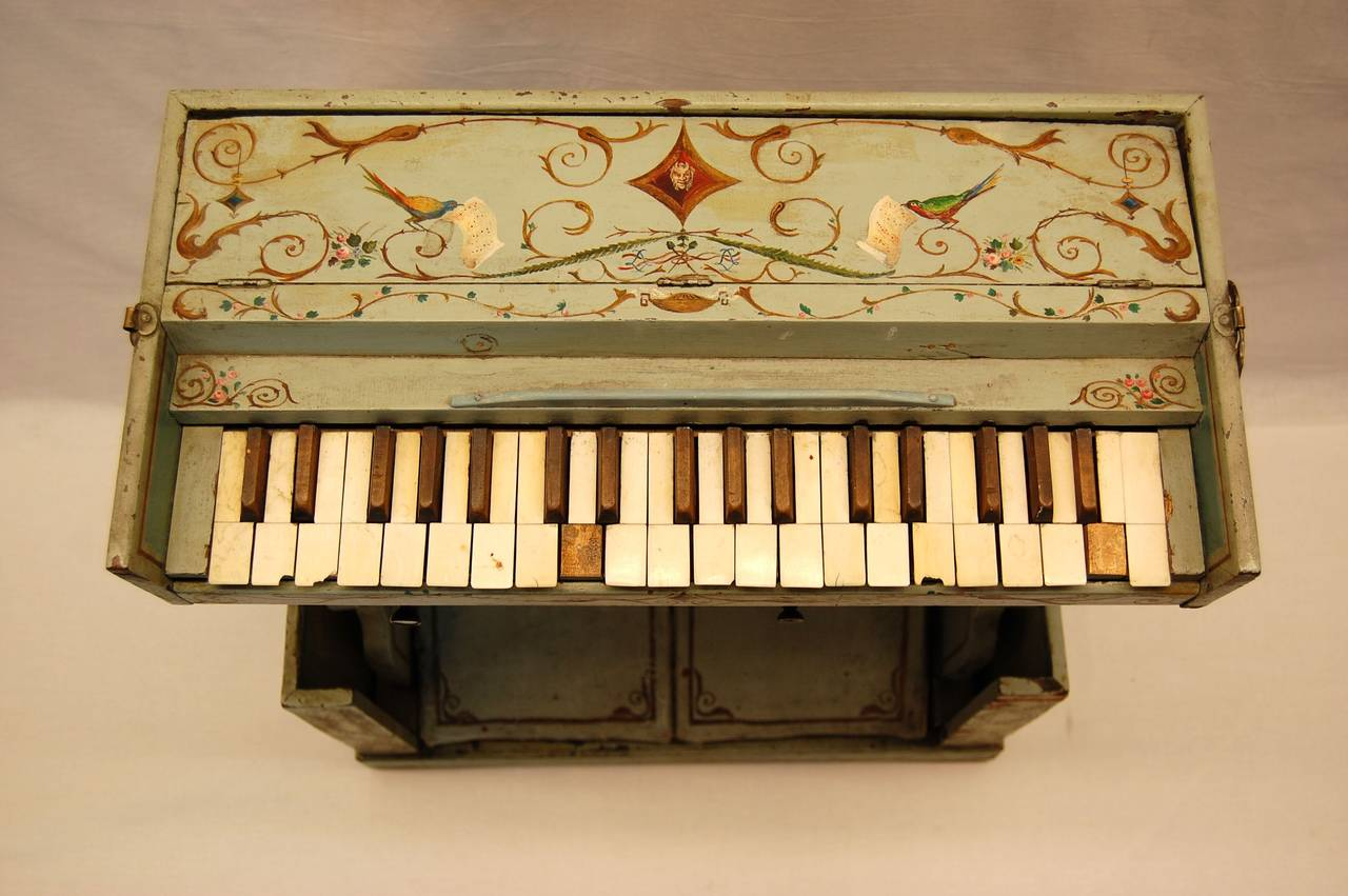 19th Century European Childs Pump Organ in Decoratively Painted Wood Case For Sale 3