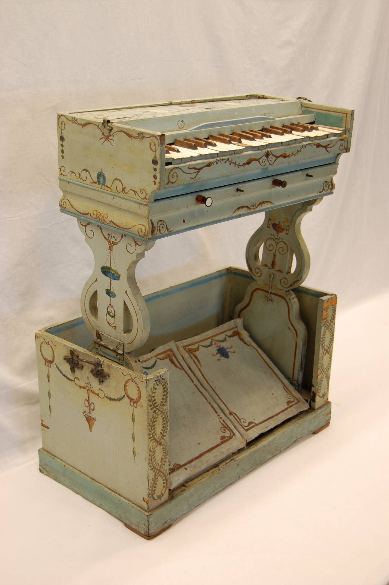 19th Century European Childs Pump Organ in Decoratively Painted Wood Case For Sale 5