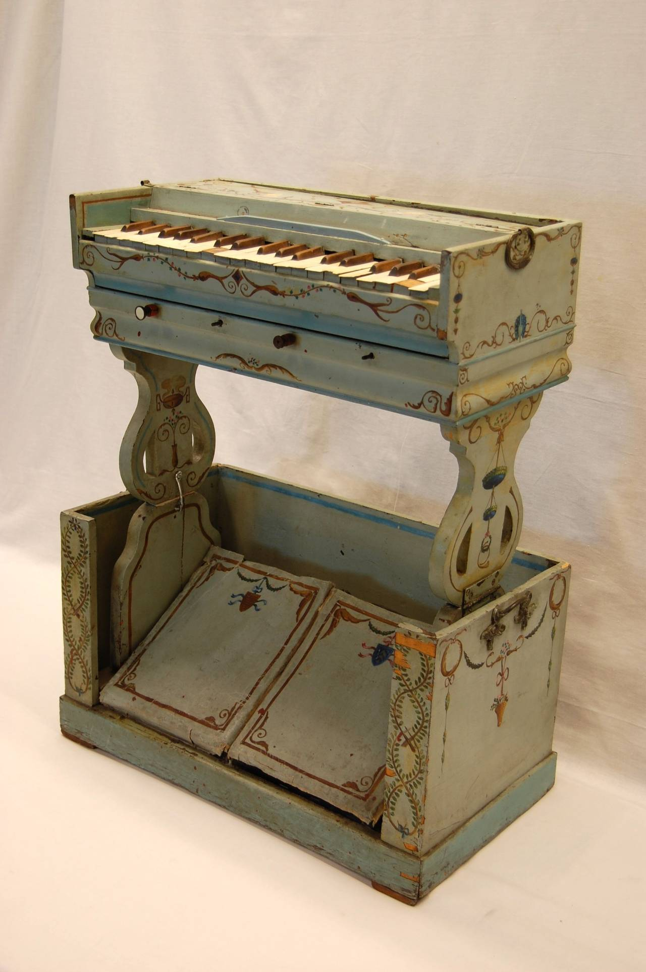 19th Century European Childs Pump Organ in Decoratively Painted Wood Case For Sale 1