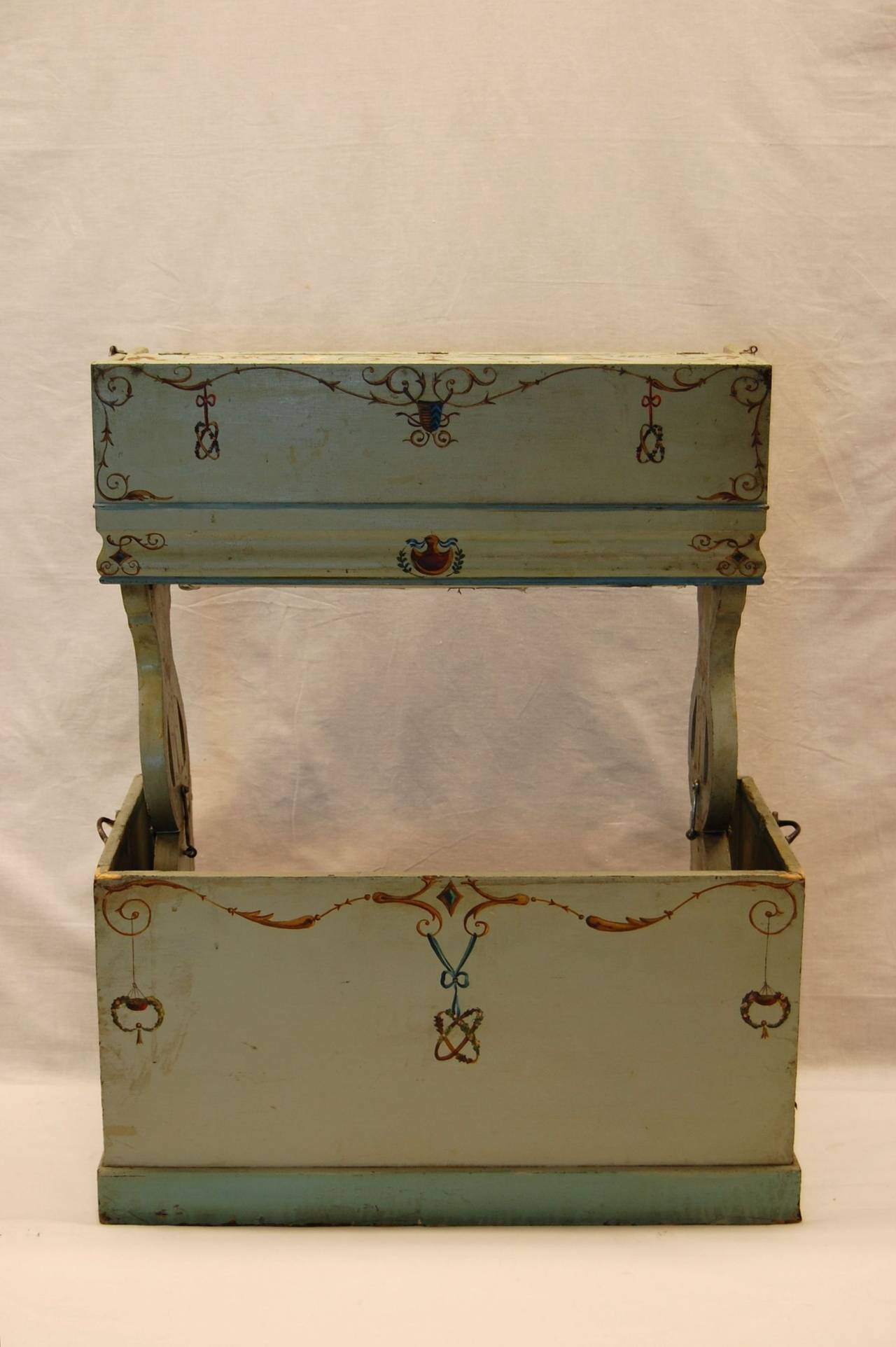 19th Century European Childs Pump Organ in Decoratively Painted Wood Case For Sale 2
