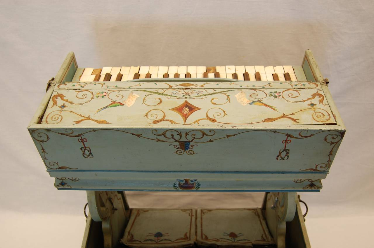 19th Century European Childs Pump Organ in Decoratively Painted Wood Case In Fair Condition For Sale In Pittsburgh, PA