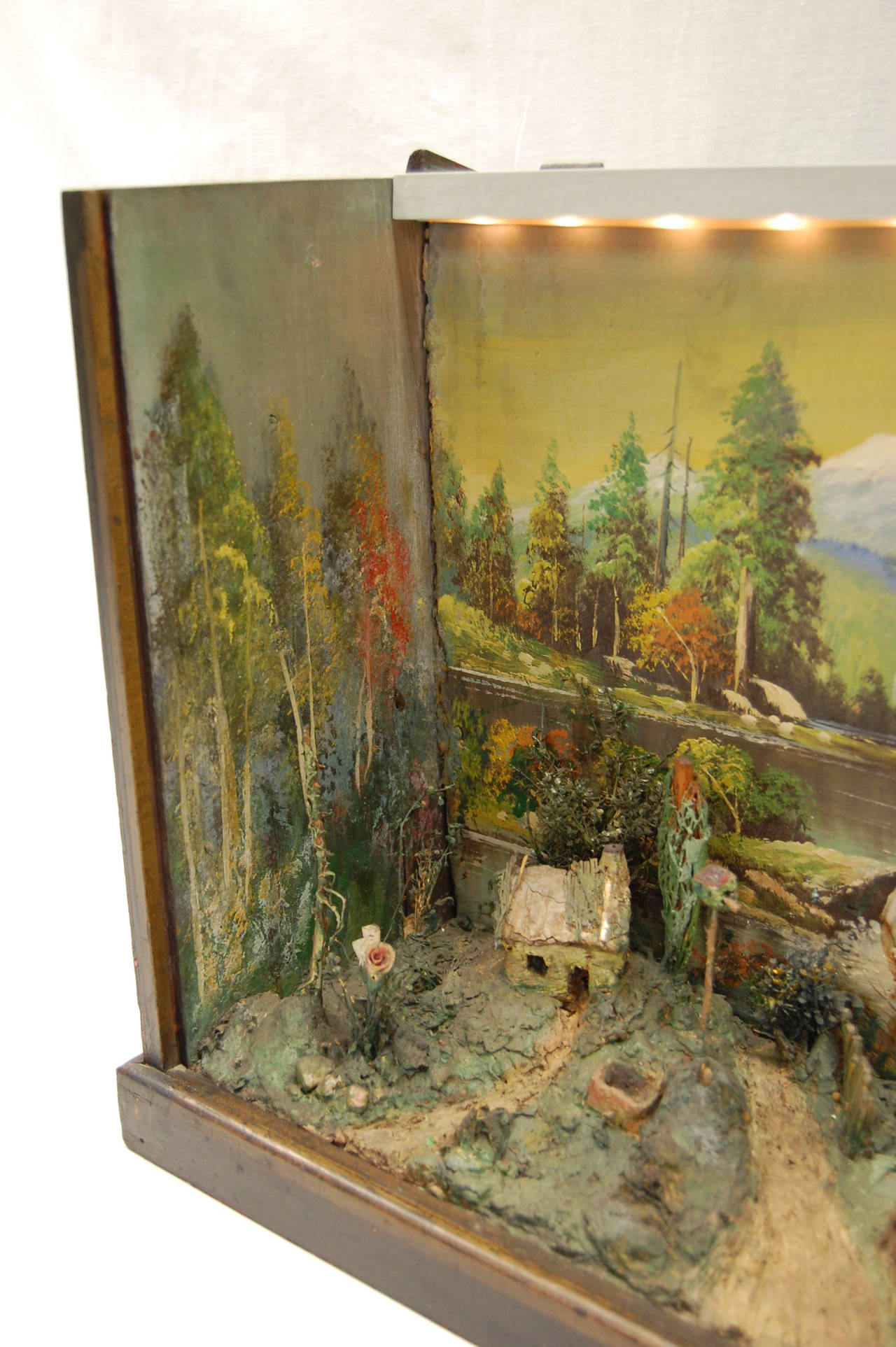 Antique Diorama Of American Farm Scene With Cow Farmhouse And Trees For Sale At 1stdibs