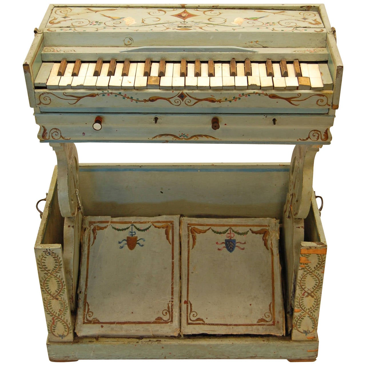 19th Century European Childs Pump Organ in Decoratively Painted Wood Case