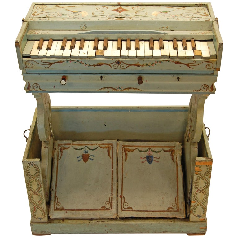 19th Century European Childs Pump Organ in Decoratively Painted Wood Case For Sale